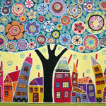 Collage Tree And Houses Painting Karla Gerard Mixed Media
