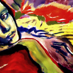 Colorful Expressionist Painting Portrait Woman