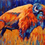 Colorful Southwestern Art Abstract Bison