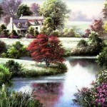 Cottages Lovely River Paintings For Sale Oil