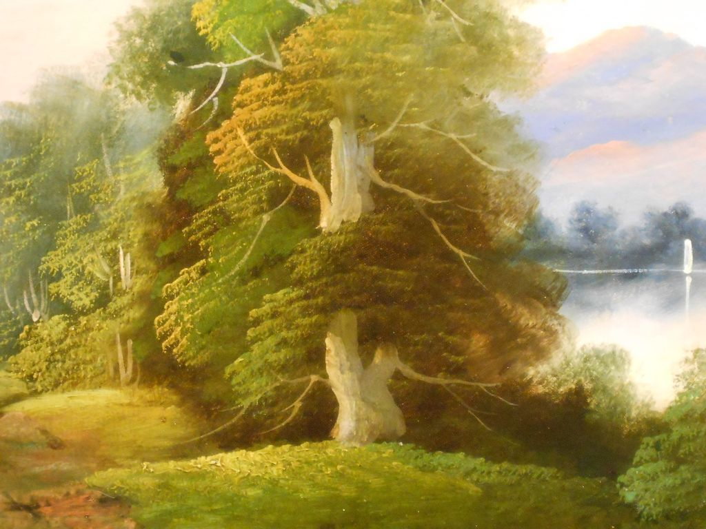 Country Landscape Oil Painting From Clean Ruby Lane