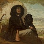 Courbet His Black Dog Painting Gustave Oil