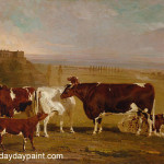 Cow Painting Portraits Cattle The Improved Short Horned Breed