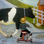 Cow Paintings Tricycle Boy Amish