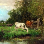 Cows Watering Meadow Painting Framed Paintings For Sale