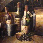 Crafted Jewelry Original Hand Painted Oil Painting Wine Cellar