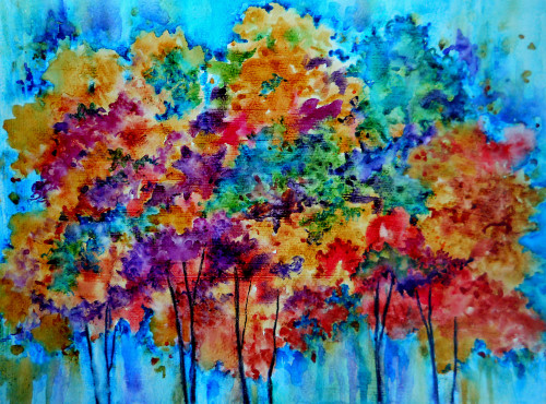 Creative Painting Martha Kisling Colorful Trees Off Oklahoma