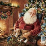 Cup Fire Place Kitty Painting Resting Santa Claus Sleeping