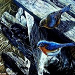 Custom Famous Acrylic Painted Blue Bird Portrait Painting