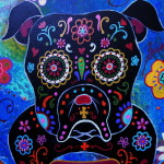 Day The Dead Bulldog Painting Fine Art