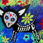 Day The Dead Painting Chihuahua Fine Art Print