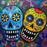 Day The Dead Painting Couple Fine Art Print
