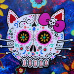 Day The Dead Painting Hello Kitty Fine Art Print