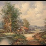 Details About Country Cottage Oil Painting Artist Canvas