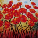 Details About Hand Made Oil Painting Red Poppies