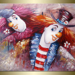 Details About Leike Happy Clowns Oil Painting Bestbid Mall