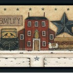 Details About Primitive Simplify Tin Star Folk Art Print Framed