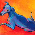 Dog Painting Colorful Greyhound Whippet Fine