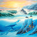 Dolphin Friends Painting Whale And Fine Art Print