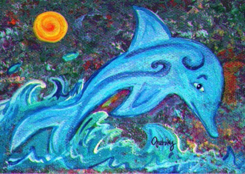 Dolphin Painting Paintings Gretzky Fine Art Prints And