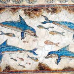 Dolphins Decoration Ancient Greek Wall Painting Knossos