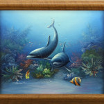 Dolphins Tropical Fish Ocean Coral Framed Oil Painting