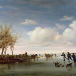 Dutch Landscape Skaters Painting Salomon Van Ruysdael