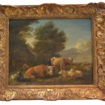 Dutch Oil Pastoral Painting Cows And Sheep Antique