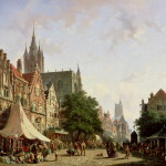 Dutch Street Scene Painting Adrianus Eversen Oil