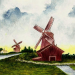Dutch Windmills Painting Fine Art Print