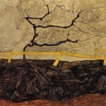 Egon Schiele Bare Tree Behind Fence Painting