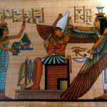 Egyptian Papyrus Paintings Cleopatra Painting Horus Isis