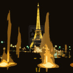 Eiffel Tower Night Vision Fein Digital Art Drawings Paintings