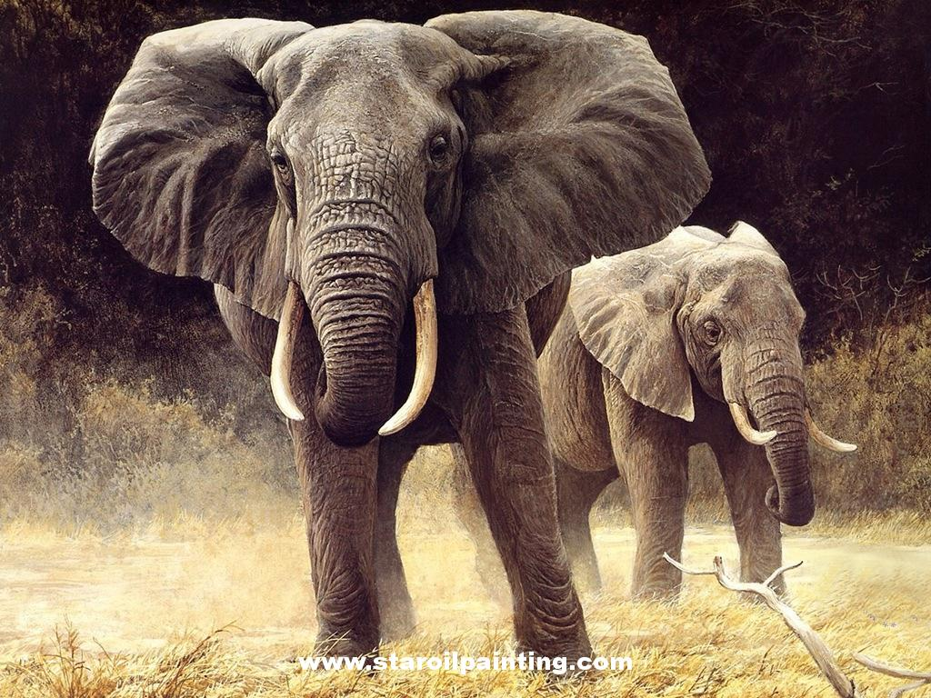 Elephant Oil Painting Reproduction