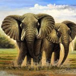 Elephants Stamping The Mud Oil Painting Tidebuy