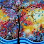 Enormous Whimsical Cityscape Tree Bird Painting Original Landscape Art
