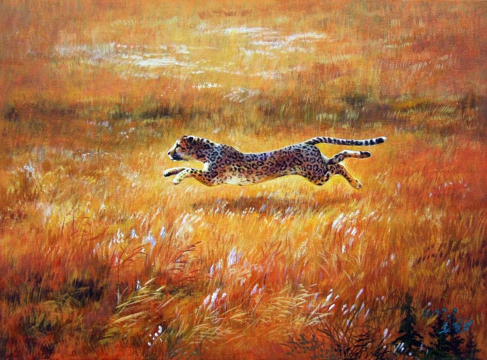 Famous Acrylic Painted Animal Cheetah Portrait Painting