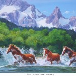 Famous Acrylic Painted Crossing The River Horse Pet Portrait Painting