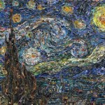 Famous Paintings Recreated Using Thousands Torn Magazine Scraps
