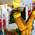 Firefighter Walkin Water Fine Art Prints And Posters For Sale