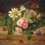 Flowers Butterfly Painting Launer Josef Oil