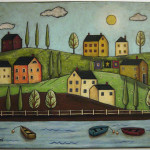 Folk Art Primitive Houses Boats Painting Sold Ebay Karla Gerard