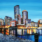 For High Textured Knife Painting Boston Downtown Cityscape