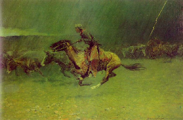 Frederic Remington Paintings The Stampede
