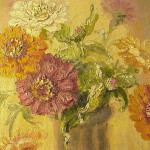 French Art Nouveau Painting Still Life Vase Zinnias Flowers