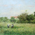 French Impressionist Oil Painting Picking Widlflowers