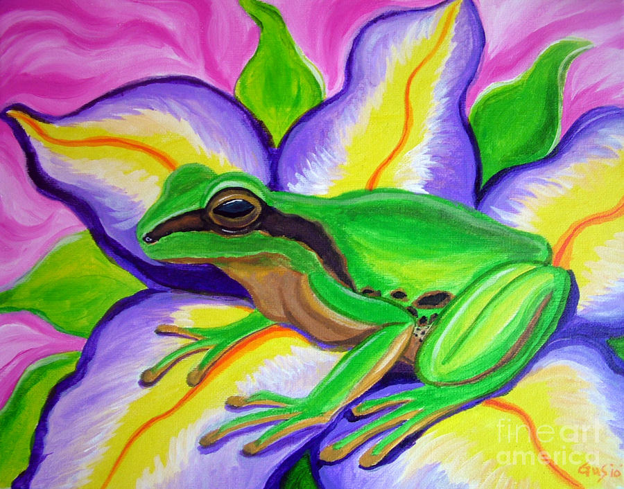 Frog And Flower Painting Pacific Tree Fine Art Print