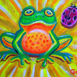 Frog And Ladybug Painting Spotted Fine Art Print