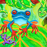 Frog Snake And Gecko The Rainforest Painting