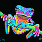 Frog Vine Painting Tropical Rainbow Fine Art